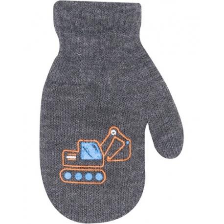 Chlapčenské akrylové rukavičky oteplené YO - so šnúrkou, sivé, veľ. 12 cm