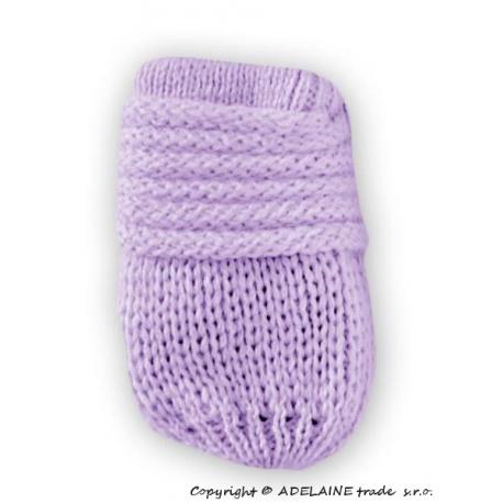 Zimné pletené dojčenské rukavičky - lila