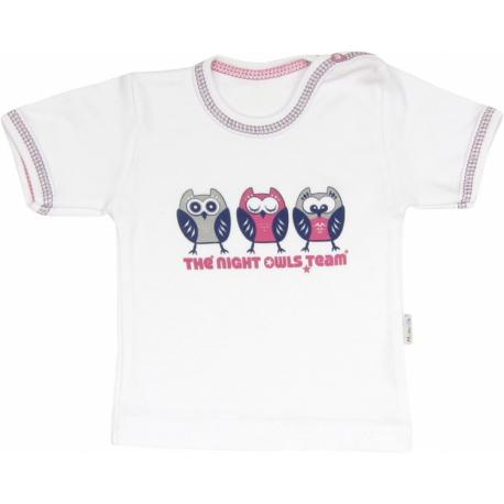 Bavlnené tričko Sovy - krátky rukáv, roz. 74