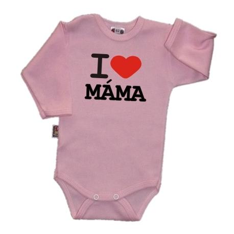 Body dl. rukáv Kolekcia I Love Mama, ružové, vel´. 80