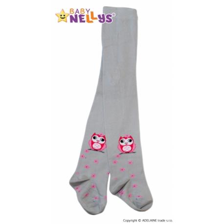 Bavlnené pančucháče Baby Nellys ® - Malá sova šedé, veľ. 104/110