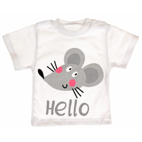 Bavlnené tričko vel. 104 - Myška Hello - biele