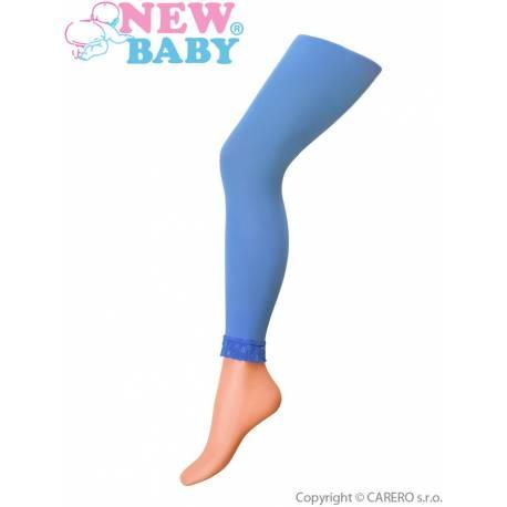 Tenké jednobarevné legínky s krajkou New Baby modré