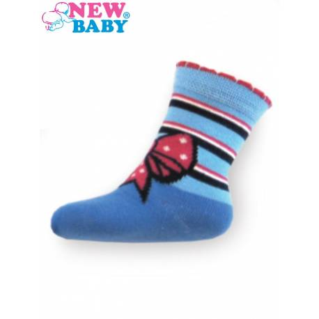Dětské bavlněné ponožky New Baby modré s mašličkou