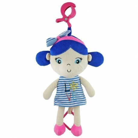 Edukační hrající plyšová panenka Baby Mix námořník holka blue