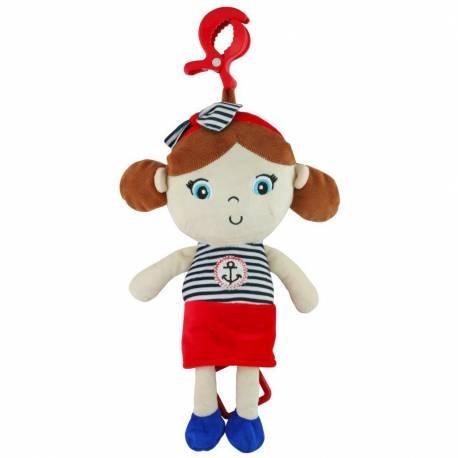 Edukační hrající plyšová panenka Baby Mix námořník holka