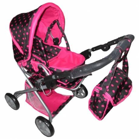 Dětský kočárek pro panenky 2v1 Baby Mix s růžovými puntíky