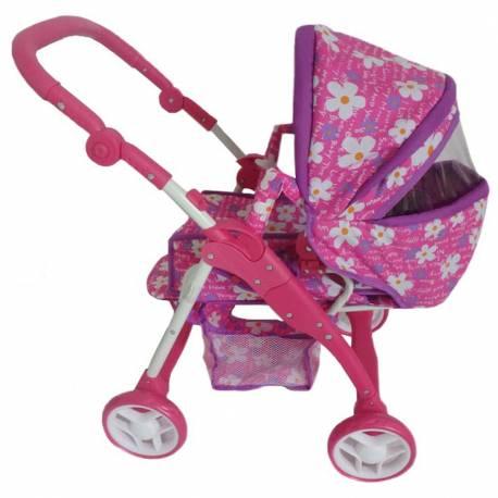 Dětský kočárek pro panenky 2v1 Baby Mix fialový - květinky