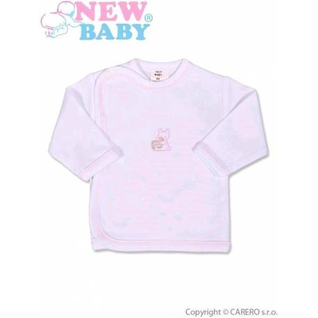 Dojčenská košieľka s vyšívaným obrázkom New Baby ružová