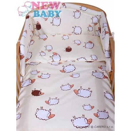 3-dielne posteľné obliečky New Baby 100/135 cm Ovečky béžové