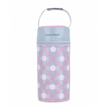 Termobox na dojčenskú fľašu - bodki ružové