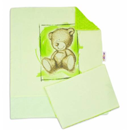 2-dielna sada do kočíka s Minky by Teddy - sv. zelená, sv. zelená