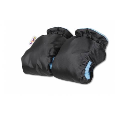 Sánky s búdou, opierkou, fusak,polohovateľ. madlo + ZADARMO rukávnik -čierny/modré