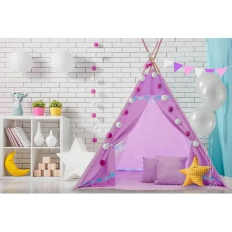 Stan pre deti teepee, típí s výbavou - Kolotoč, 120x120x180 cm, fialový
