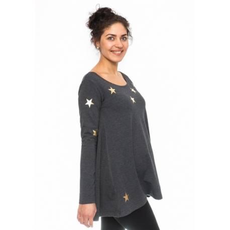 Tehotenská tunika voľná Star - grafit, veľ. XL