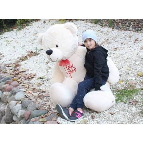 Plyšový macko 180cm - bílý, I love you