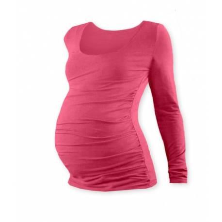 Tehotenské tričko JOHANKA s dlhým rukávom - lososovo ružová