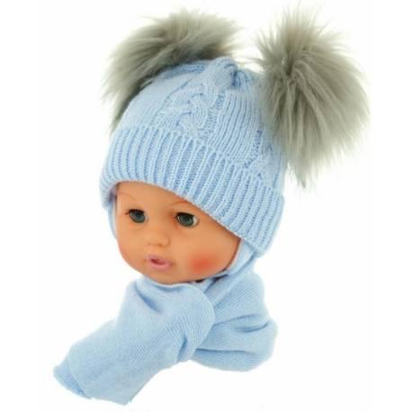Zimná čiapočka s šálom - chlupáčkové bambuľky - sv. modrá