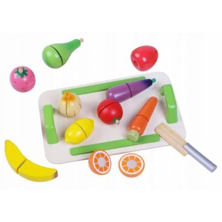 Drevená zelenina a ovocie s doskou