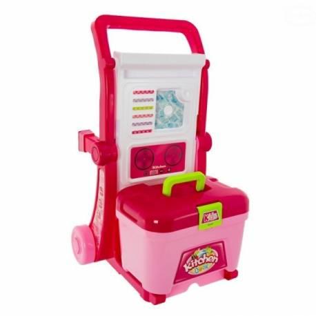 Detská veľká kuchynka s príslušenstvom v pojazdnom kufríku