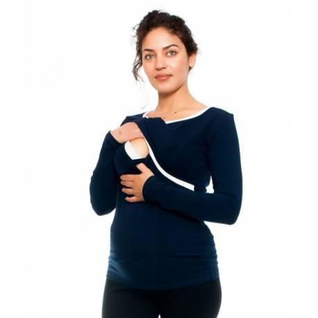 Tehotenské a dojčiace triko Aldona, dlhý rukáv, granát, veľ. S