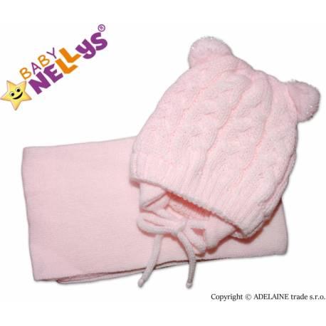 Zimná pletená čiapočka s šálom Mimi Bear s brmbolcami - sv. ružová