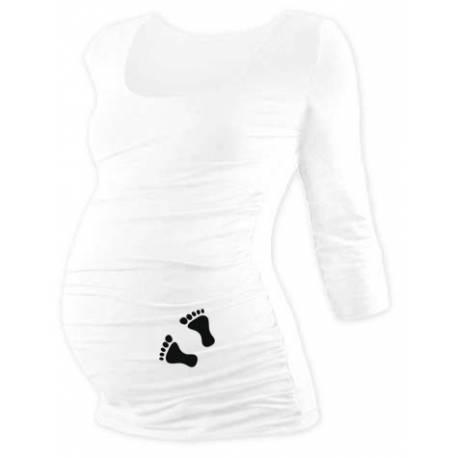 Tehotenské tričko 3/4 rukáv s nožičkami - biele