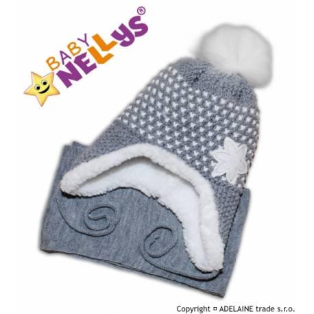 Zimná čiapočka s kožušinkou a šálom Lili - šedá
