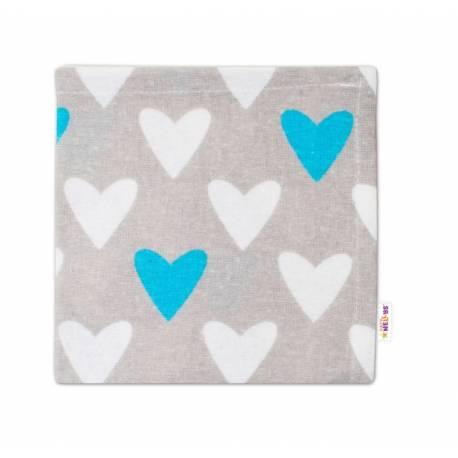 Mini flanelová plienka - Srdiečka tyrkysová/biela v sivej