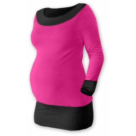 Tehotenská tunika DUO - ružová / čierna