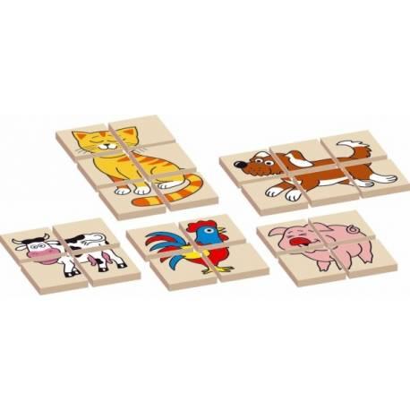 Skladačka zvieratka drevená obojstranná 12dílků 5 zvieratiek v krabičke 17x12x1,5cm
