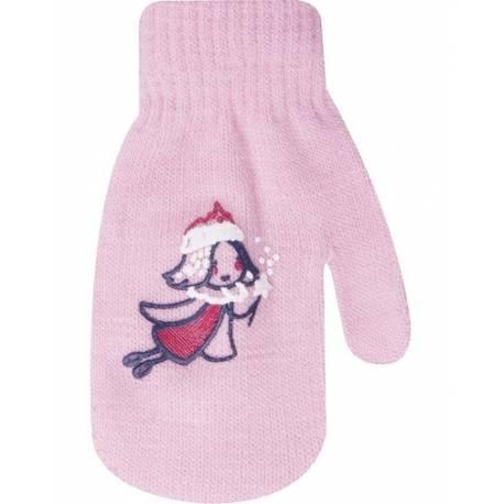 Dojčenské dievčenské akrylové rukavičky YO - sv. ružové