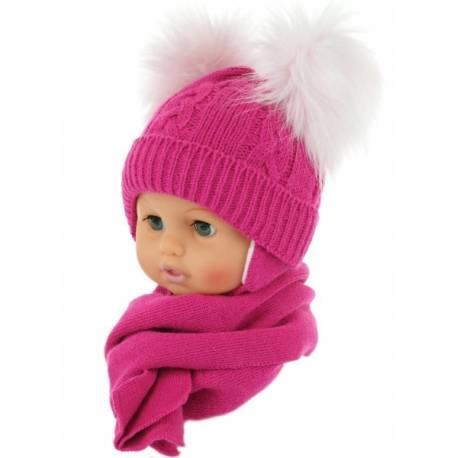 Zimná čiapočka s šálom - chlupáčkové bambuľky - malinová