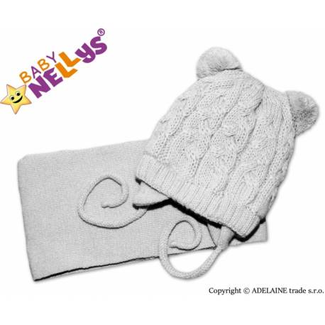 Zimná pletená čiapočka s šálom Mimi Bear - sivá s brmbolcami