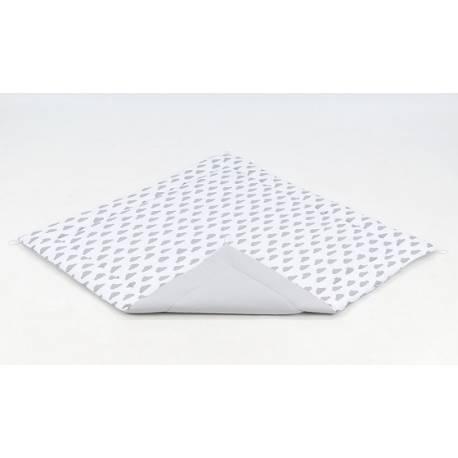 Hracia, prebaľovacia podložka 120x120cm - biela/mráčky sivé-šedá