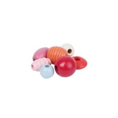 Drevené korálky Cupcake - červené