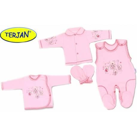 Súpravička do pôrodnice v krabičke Terjan - Ružový macko