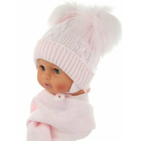 Zimná čiapočka s šálom - chlupáčkové bambuľky - sv. ružová