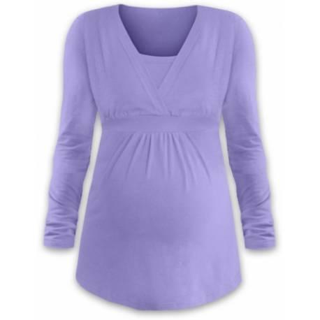 Dojčiace aj tehotenská tunika ANIČKA s dlhým rukávom - orgovánová