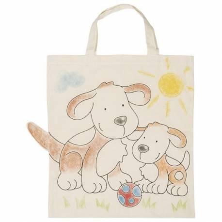 Detská Eko bavlnená taška k vyfarbenie, 38x42cm - Psík