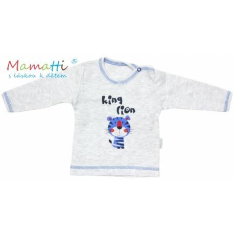 Tričko / košieľka dlhý rukáv Mamatti - LION -sivý melír