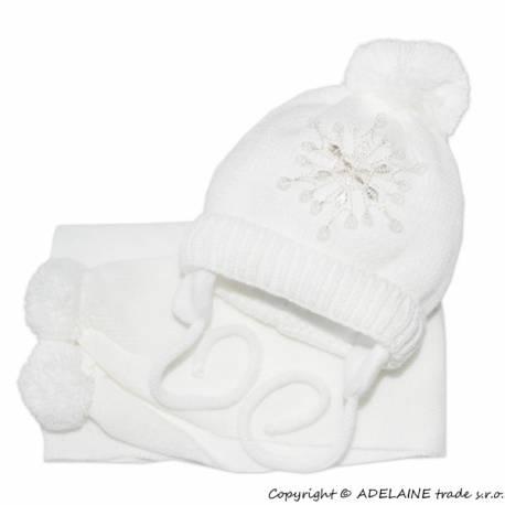 Zimná čiapočka s šálom - Snehová vločka v bielej