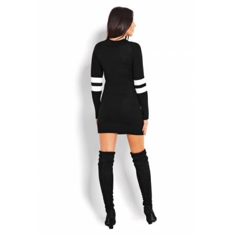 Tehotenský svetrík / tunika so stojačikom - čierna