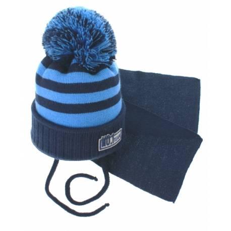 Zimná pletená čiapočka s šálom No.1 Team - prúžky granát / modrá