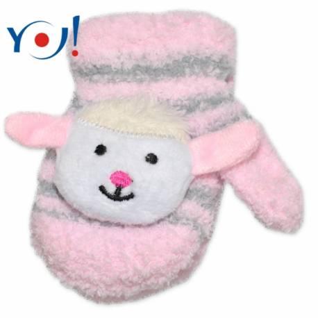 Kojenecké zimné froté rukavice YO - sv. ružová/sivá - ovce