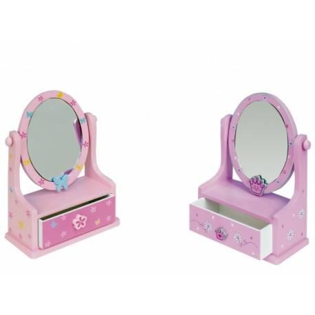 Zrkadlo šperkovnica zásuvka drevo 16,2x24,2x8,5cm asst 3 farby v krabici