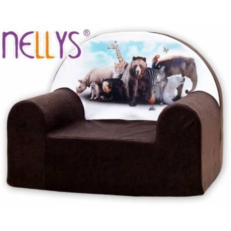 Detské kresielko / pohovečka Nellys ® - Zvieratá v hnedej