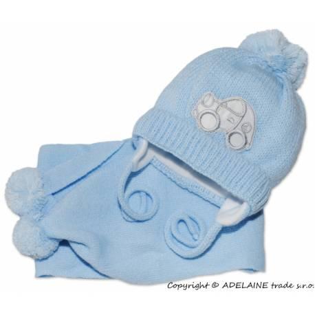 Zimná čiapočka s šálom - Autíčko sv. modré