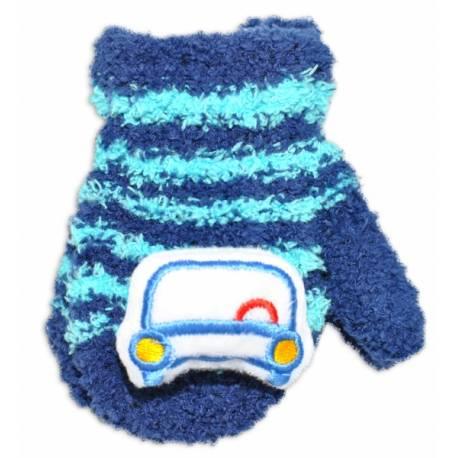 Kojenecké zimné froté rukavice YO - granátová/tyrkys - autíčko