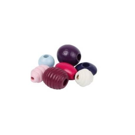 Drevené korálky Cupcake - fialové